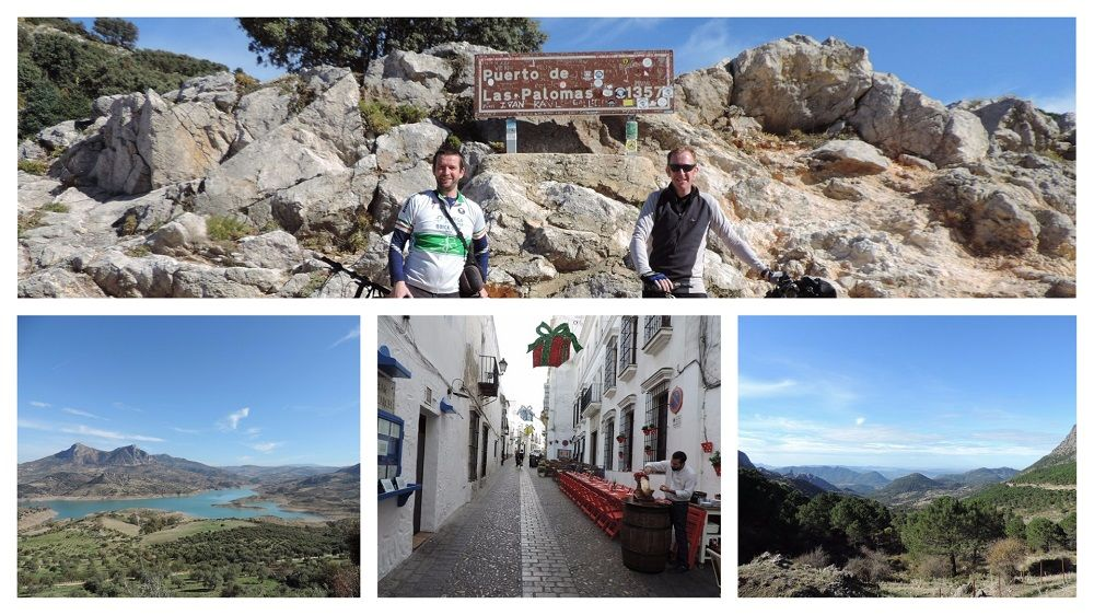 White Villages Tour collage with pictures of cyclists and images fromm the route