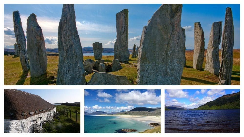 Hebrides and Loch Lomond Cycling Tour Collage with images of Harris Beach, Callanish Stone Circle, Loch Lomond and Hebridean Cottage