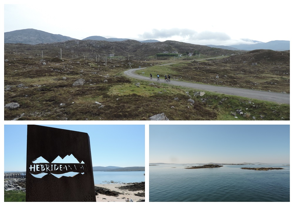 Hebrides and Loch Lomond Cycling Tour Collage with images of Sound of Barra Islands, Tarbert hinterland, Hebridean Way sign