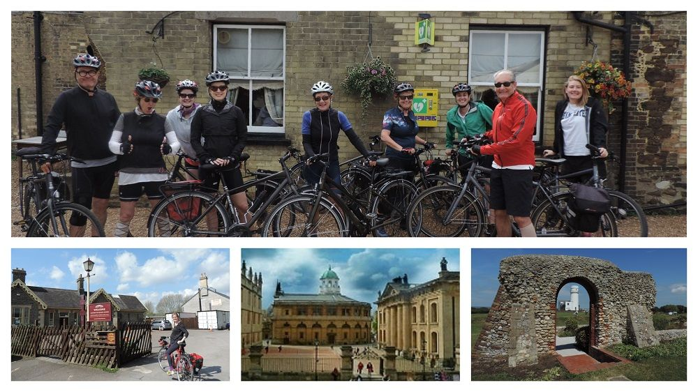 Historical South C2C Cycle Tour collage including a group of cyclists in Downham Market and  number of images along the route