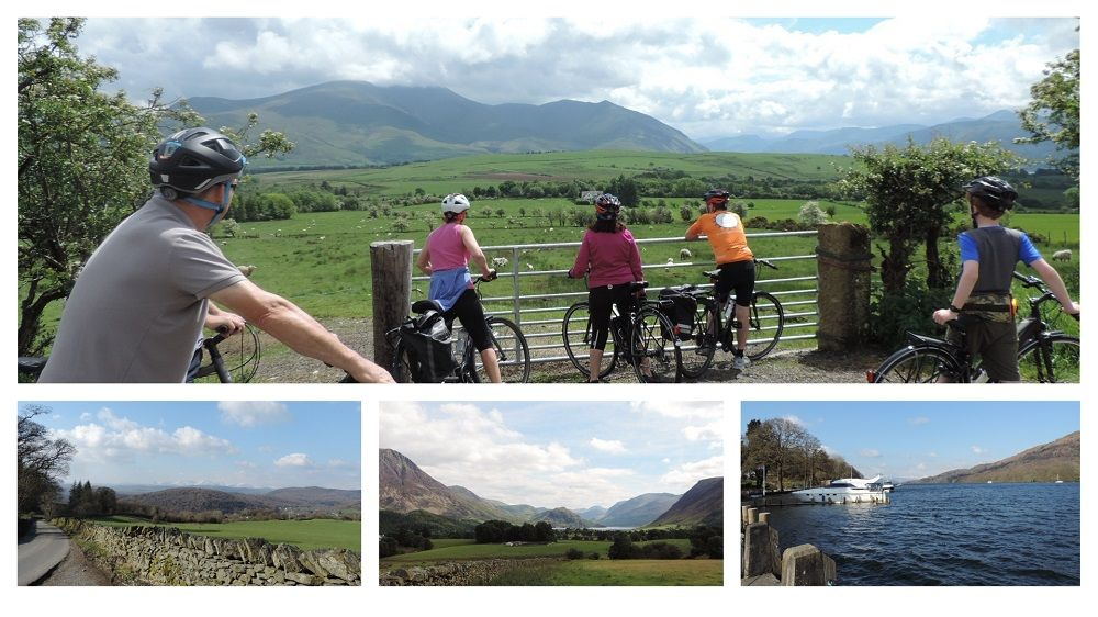 Lakes and Dales Loop collage with a number of images of cyclists and the route of the Lakes and Dales Loop