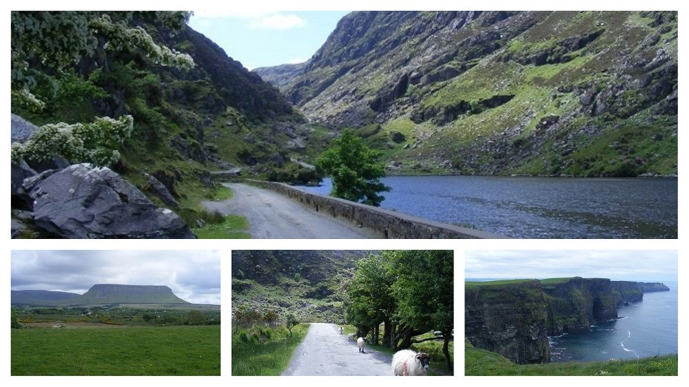 Collage of photos on the Mizen to Malin bike tour, including Molls Gap, Killarney, Benbulben and the Cliffs of Moher