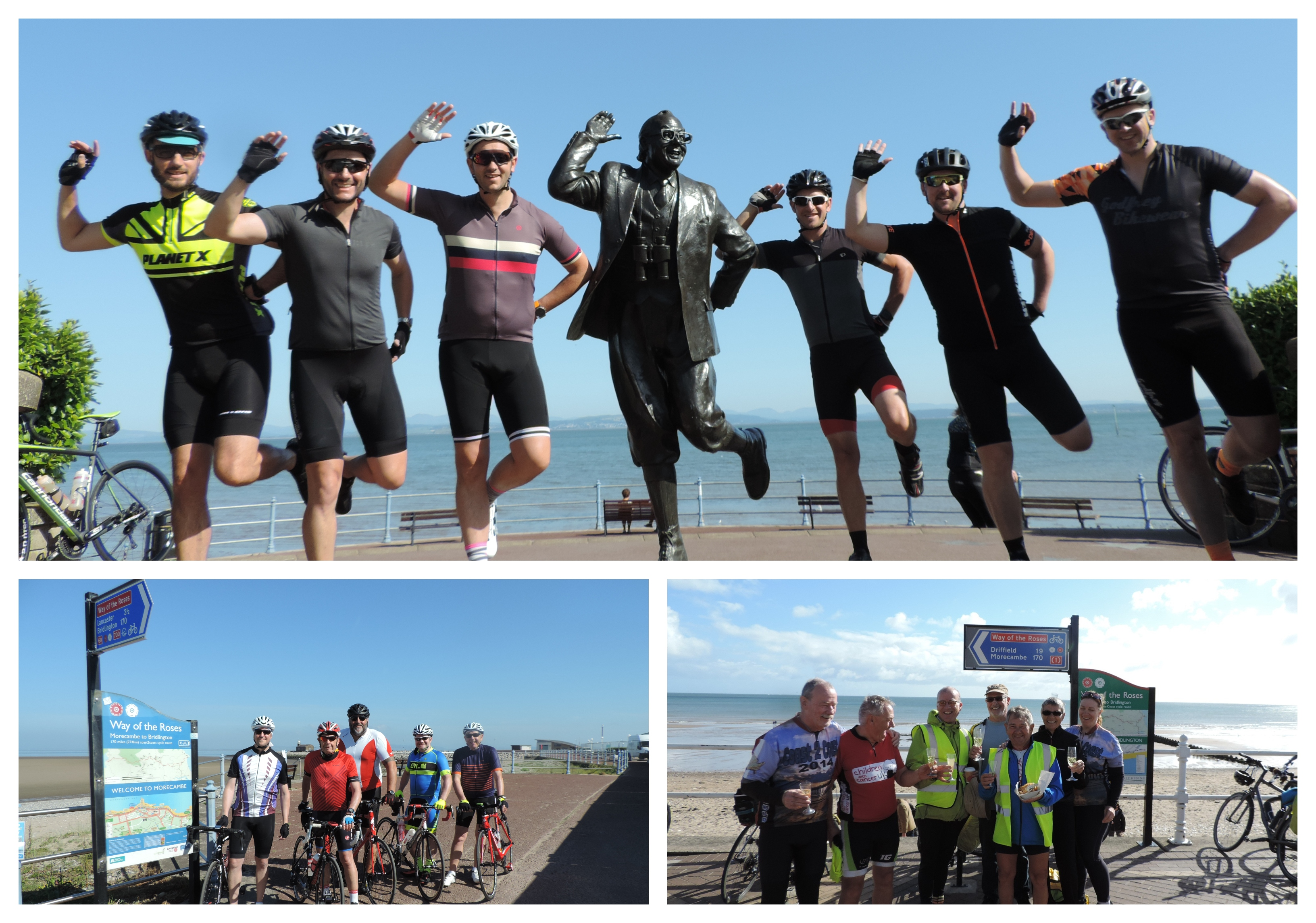 Collage of the Way of the Roses cycling tour with different groups of cyclists at the beginning and finsih of the tour