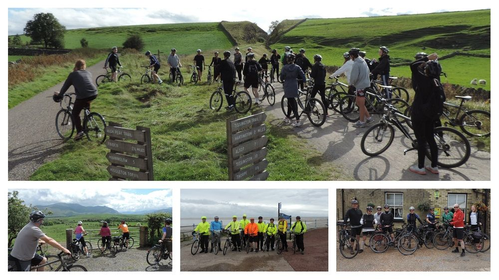 Collage image of different groups of cyclists on bespoke cycling tours