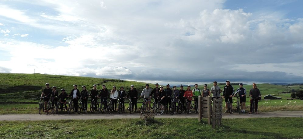 Big group of cyclists on the High Peak Trail, Derbyshire